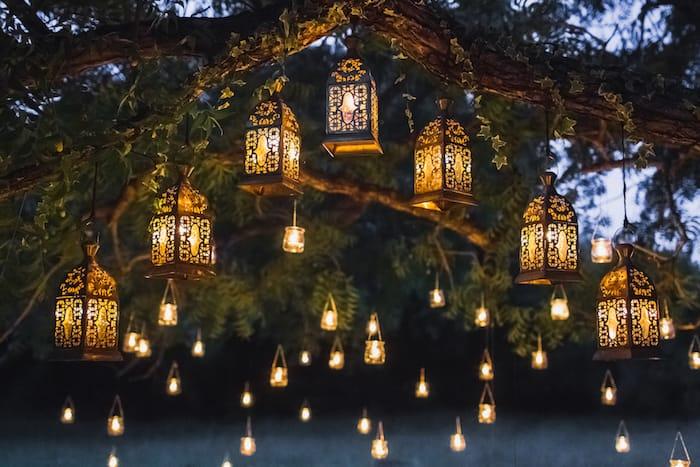 cérémonie de mariage laïque décorations lumière et arbre